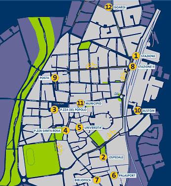 Mappa stazioni di cicloposteggio Bicincittà